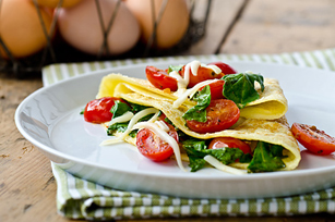 Omelette Envelopes with Tomatoes & Arugula