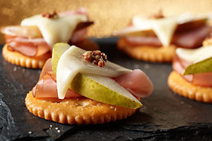 Open-Face Pear, Ham & Cheese Snacks Image 1