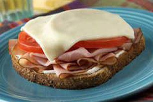 Open-Faced Grilled Swiss, Ham & Tomato Sandwich Image 1