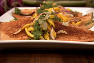 Truite poêlée avec sauce chimichurri et salade de mangue