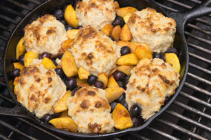 Barbecued Peach & Blueberry Cobbler