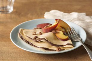 Creamy Peaches & Pecan Crepes