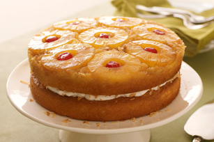 Pineapple Coconut Upside-Down Layered Cake