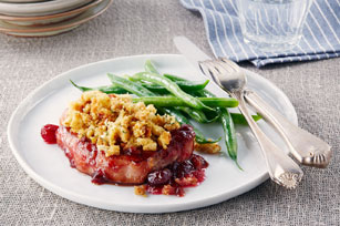 Pork Chops with Cranberry Sauce & Stuffing