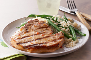 Pork Chops with Green Beans and Rice