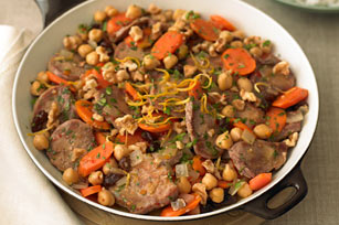 Pork Skillet with Chickpeas, Carrots & Raisins