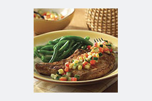 Pork Chop Grill with Corn-Pepper Relish