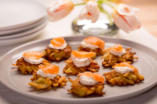 Potato Pancakes with Garden Vegetable Cream Cheese & Lox Image 1