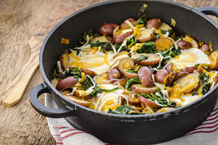 Red Potato, Leek & Spinach Skillet Hash with Eggs