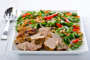 Roast Pork with Warm Chickpea-Arugula Salad