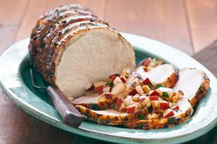 Rôti de porc avec salsa aux poires fraîches