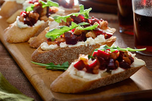Roasted Beet, Feta and Walnut-Topped Crostini Image 1