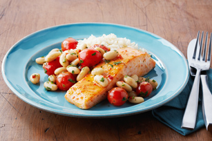 Roast Salmon with Bean & Tomato Salad Image 1
