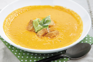 Roasted Tomato & Pepper Soup with Pesto Cream Cheese
