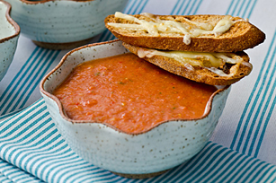 Roasted Tomato Soup with Cheesy Croutes