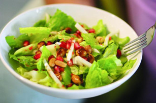 Romaine Salad with Spicy Peanuts & Pomegranate Seeds