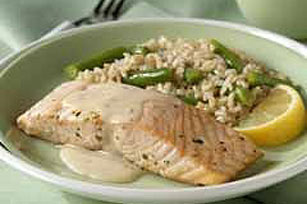 Salmon in Tarragon Cream Sauce with Green Bean Pilaf