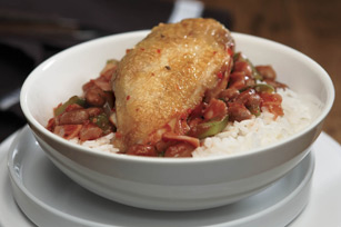 Saucy Chicken with Pinto Beans and Rice Image 1