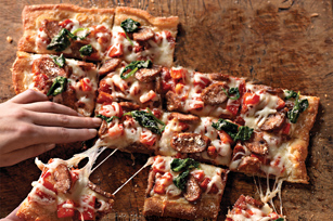 Sausage, Pepper & Parmesan Pizza Image 1
