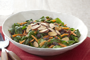 Sauteed Spinach with Carrots, Raisins and Almonds