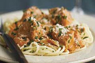 Savory Pork & Spaghetti in Tomato Sauce