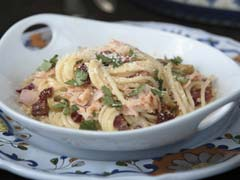 Serrano-Orange Glazed Salmon Pasta