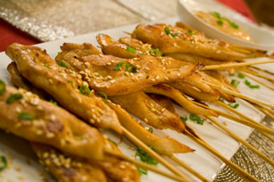 Sesame Chicken Satays with Peanut Dipping Sauce Image 1