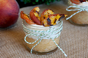Shortbread Cups Topped with Grilled Peaches & Marshmallow Dip