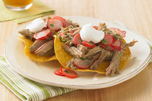 Shredded Pork Tostadas with Xnipec Radish Salad