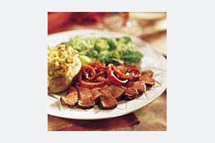 Solomillo con salsa de cebolla morada