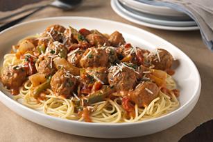 Spaghetti & Meatballs in Creamy Rosa Sauce Image 1