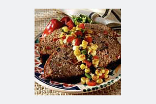Spicy Meatloaf with Olive Salsa
