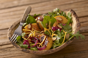 Spinach and Arugula Salad with Grilled Peaches for Two
