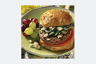 Spinach-Feta Topped Burgers