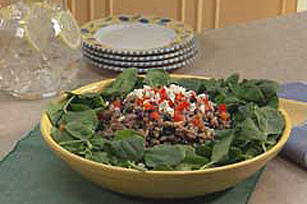 Spinach Salad with Kasha and Black Beans