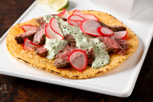 Steak Tostadas with Radish Salad
