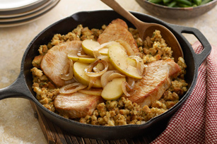 Stuffing-Topped Pork & Apple Skillet