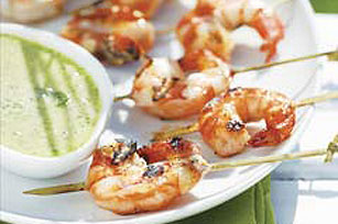 Sweet Grilled Shrimp with Cilantro Dipping Sauce