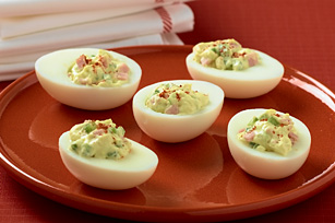 Deviled Eggs with Creamy Sweet Pepper and Ham