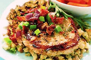 Sweet & Savory Pork Chops Over Stuffing Image 1