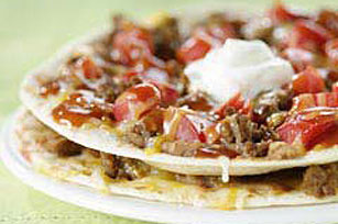 Individual Ground Beef Taco Pizzas