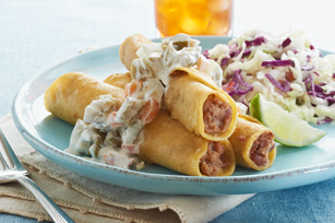 Taquitos with Creamy Jalapeño Sauce