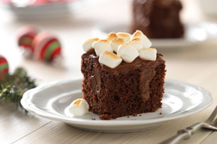 Toasted Marshmallow-Chocolate Pudding Poke Cake