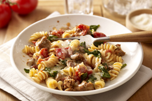 Sausage, Tomato and Spinach Pasta