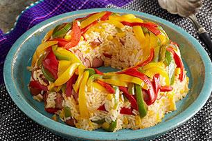Aro tricolor de pimientos y arroz