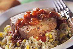 Tuna Steaks Veracruzana with Brown Rice & Corn Pilaf Image 1