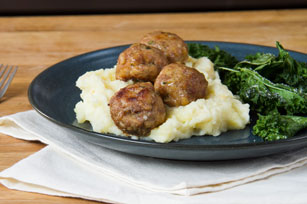 Turkey Meatballs with Potato-Parsnip Mash & Krunchy Kale