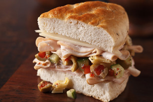 Turkey and Vegetable Focaccia Sandwich Image 1