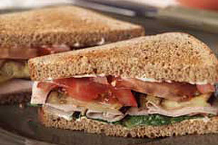 Turkey, Eggplant and Tomato Sandwich Image 1