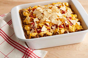 Cheesy Pasta Nacho Bake